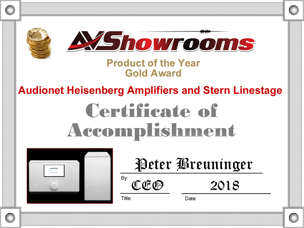 Audionet Heisenberg Humboldt product of the year 2018