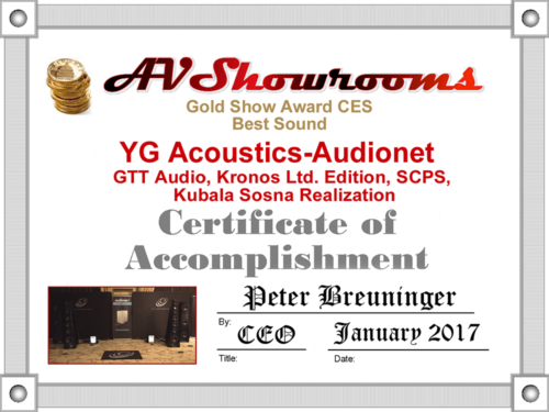 Audionet MAX AVShowrooms Gold Award CES 2017
