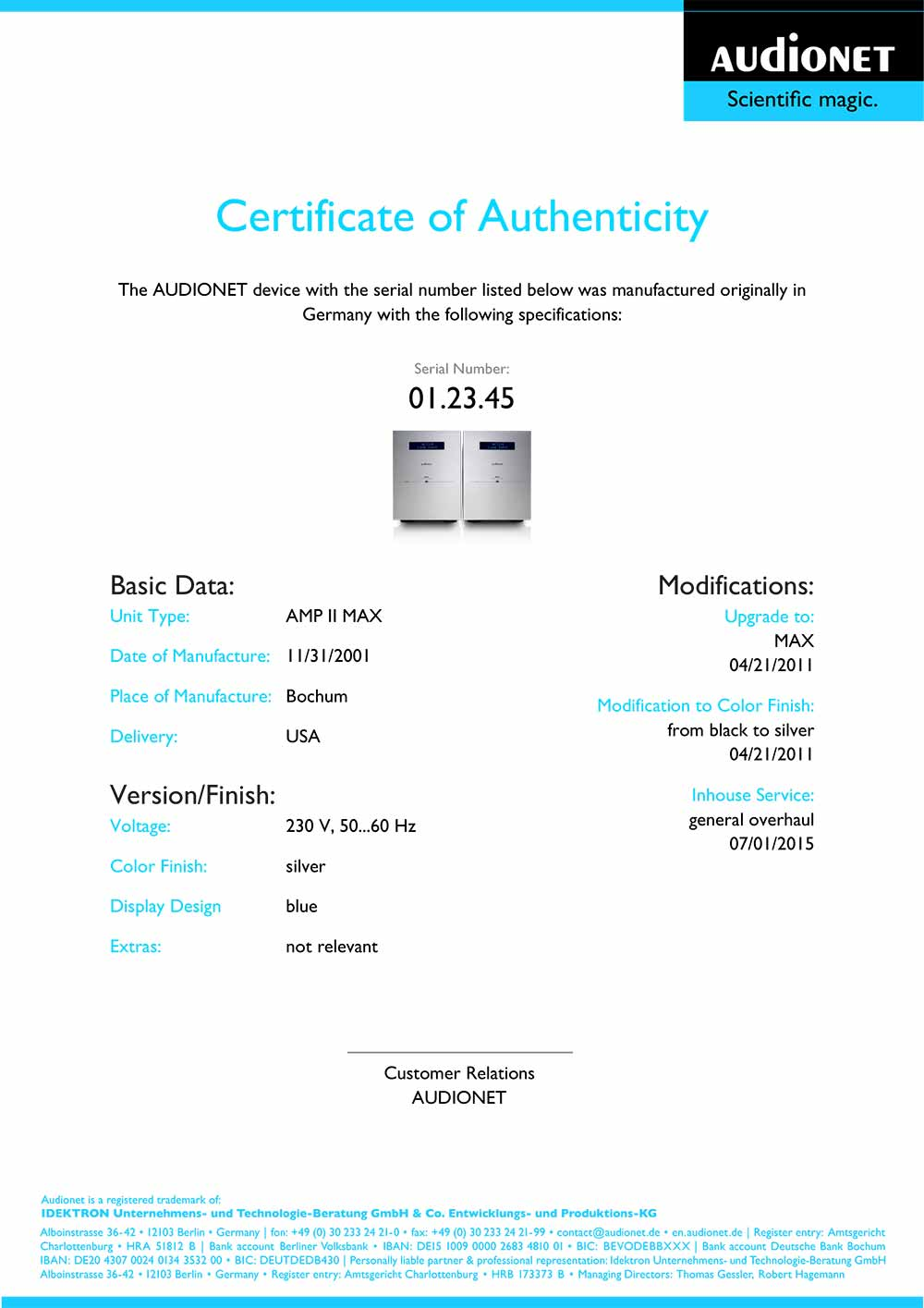 Audionet Certificate of Authenticity